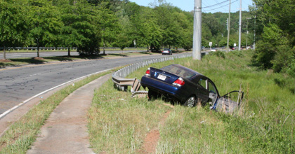 Car crash at guardrail