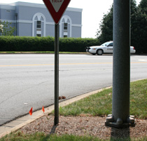 Yield sign installation next to a signal pole
